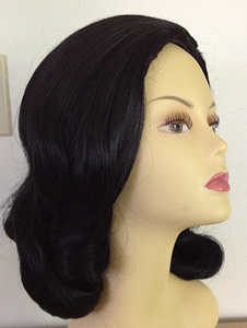 60s prom pageboy wig in black