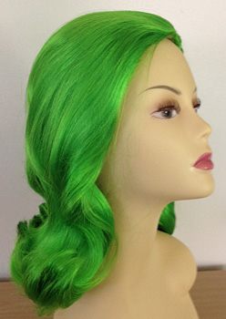 60s prom pageboy femme fatale in green toxic