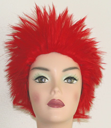 long spikey wig in red
