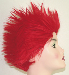 long spikey wig side view