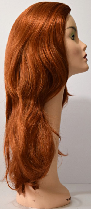Linda wig in Fire Red, side view