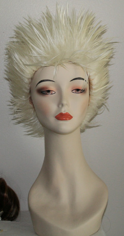 long spikey wig in white