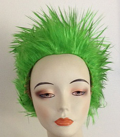 long spikey wig in toxic green
