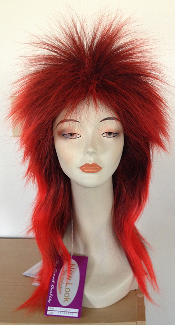 punky spiked wig in 1btred, front view