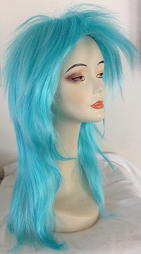 punky spiked wig in light blue