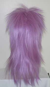punky spiked wig in light purple, back view