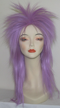punky spiked wig in light purple, front view