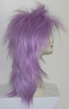 punky spiked wig in light purple, side view