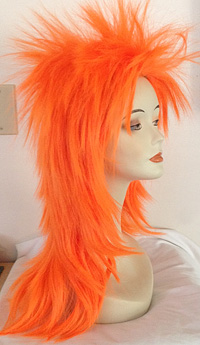 new look punky spiked wig in orange