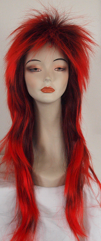 punky xl spiked wig in 1btred, front view