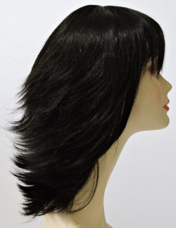 reese flip wig with spikey bangs, side view