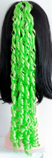 curly braid in color bright green