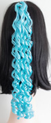 curly braid in color light blue