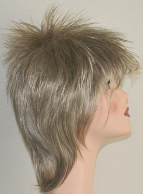 Rod spike wig in frosted blonde side view