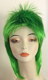 Rod spike wig in toxic green