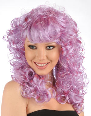 Stella wig in purple on a model