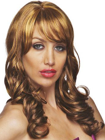 Susanna wig by sepia in color f 33 32 240 , side swept bangs wig with jumbo curls, front view