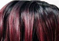 swatch of wig color tf 1b burgundy red
