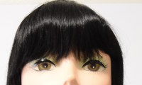 Tina wig in black, bangs view